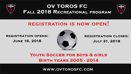 OV Toros FC Fall 2018 Recreation Program